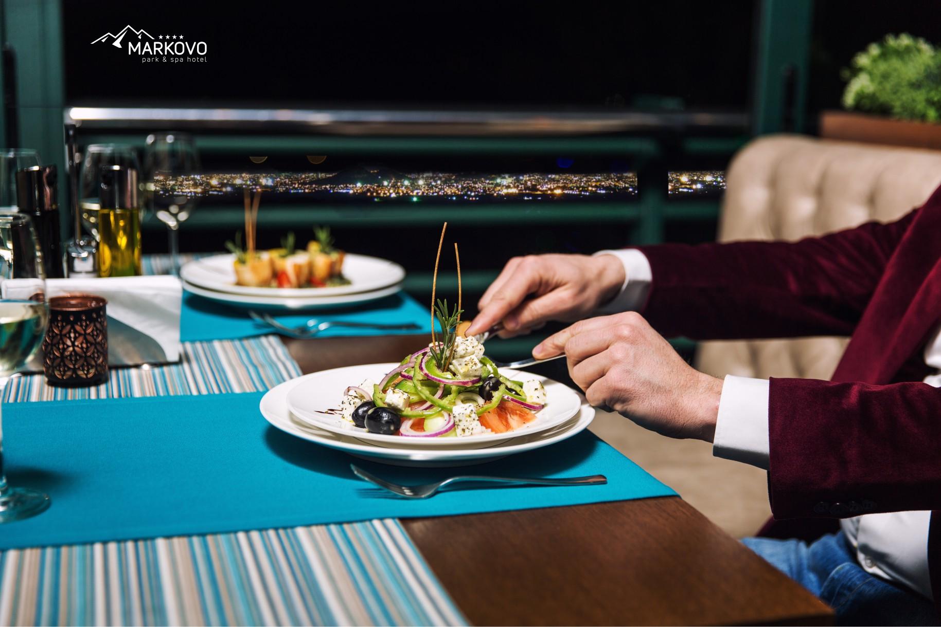 Вечеря Ресторант Belle Vue с уникална гледка към град Пловдив